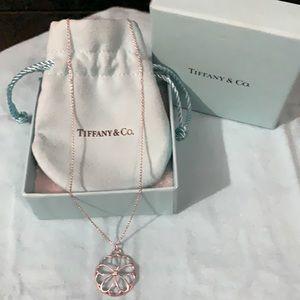 RARE TIFFANY FLOWER MEDALLION NECKLACE W/DIAMOND